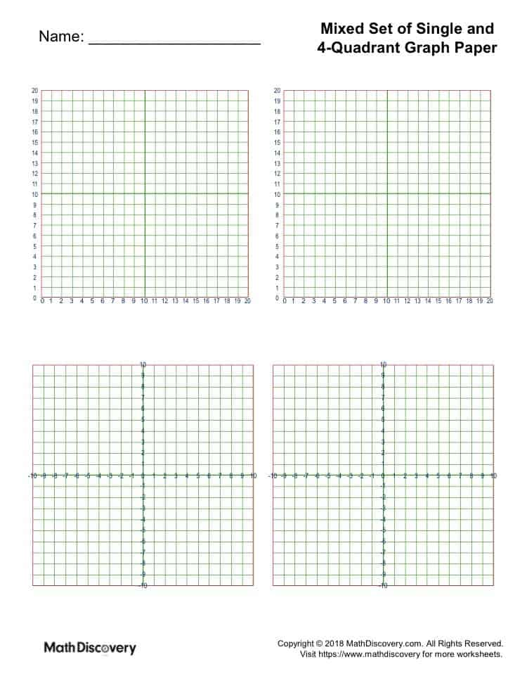 Free Printable Mixed Set of Single and 4-Quadrant Graph Paper